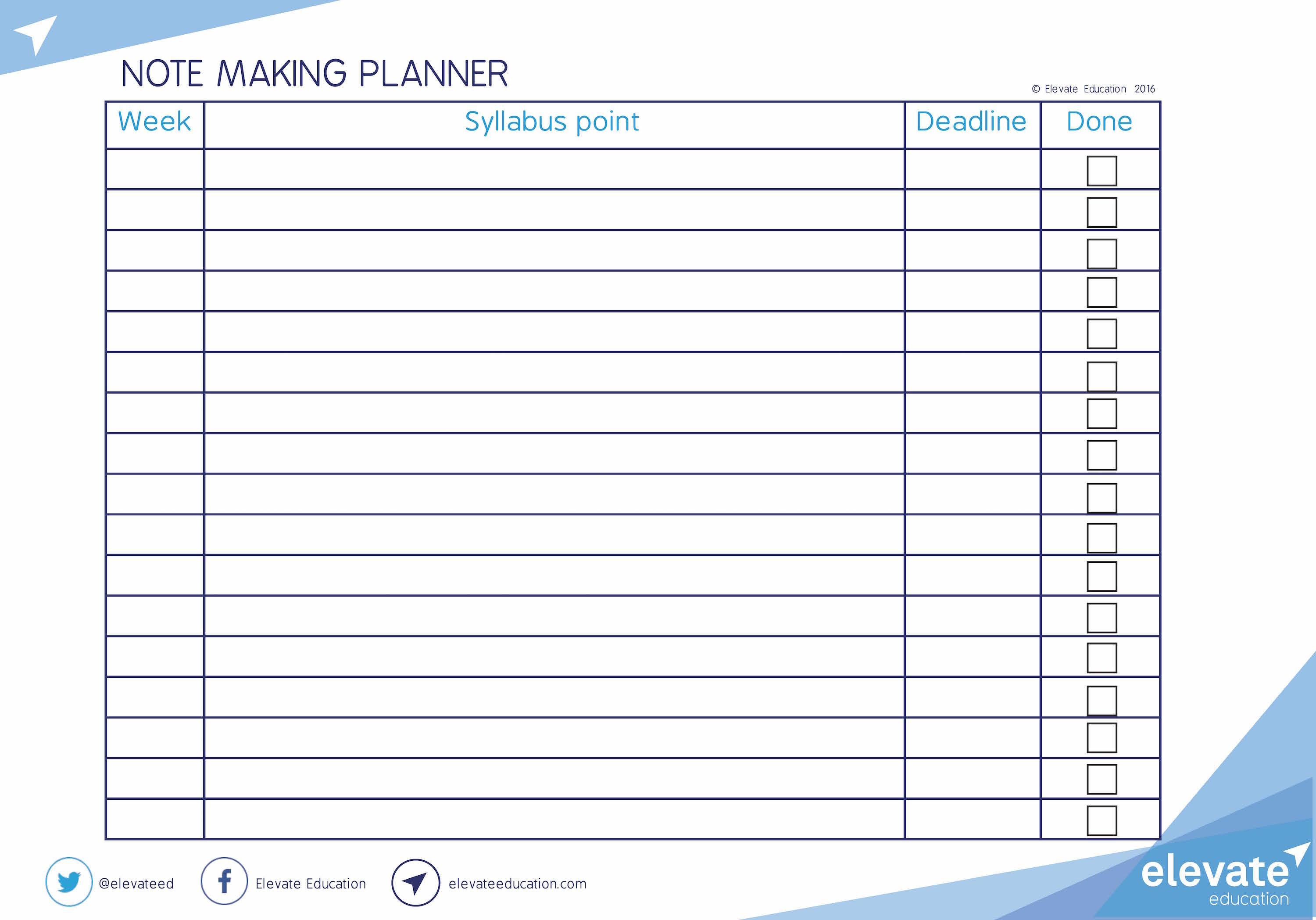 Note making planner